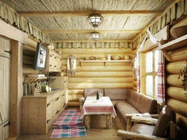 гостиная в деревянном доме в русском стиле