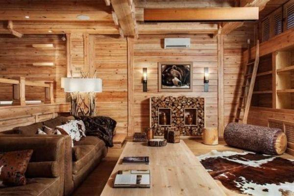 мебель в гостиной в деревянном доме