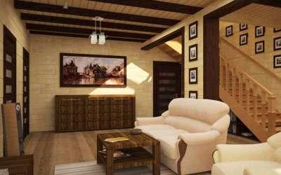 Дизайн интерьера в деревянном доме фото