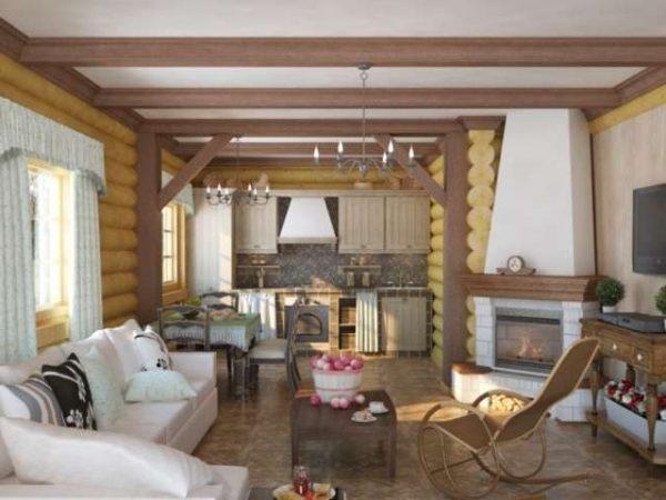 гостиная в деревянном доме с белым потолком