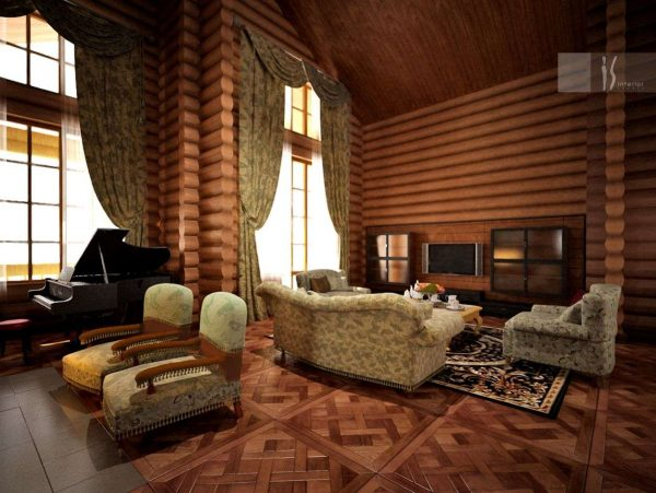 огромные окна в интерьере гостиной в деревянном доме