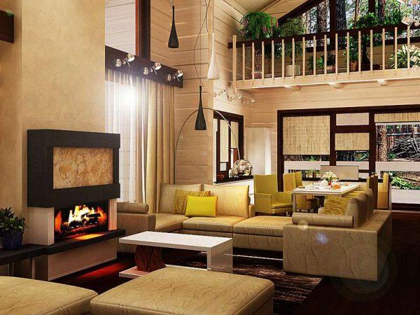 высокий потолок в интерьере гостиной в деревянном доме