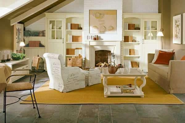 Гостиная в стиле кантри с полами из каменной плитки