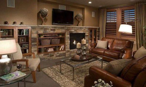 коричневый цвет в интерьере гостиной в стиле кантри