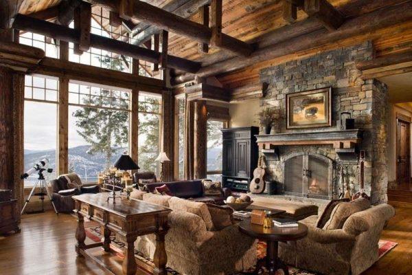 использование деревянного бруса в интерьере гостиной в стиле кантри