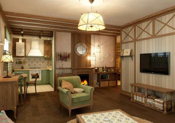 светильники потолочные в интерьере гостиной в стиле кантри