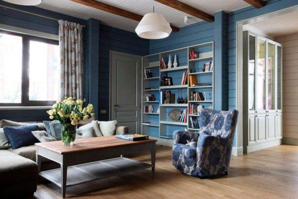 синий в интерьере гостиной в стиле кантри
