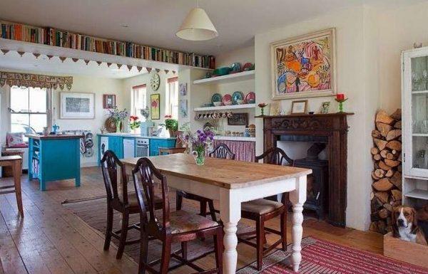 стиль кантри в интерьере кухни гостиной
