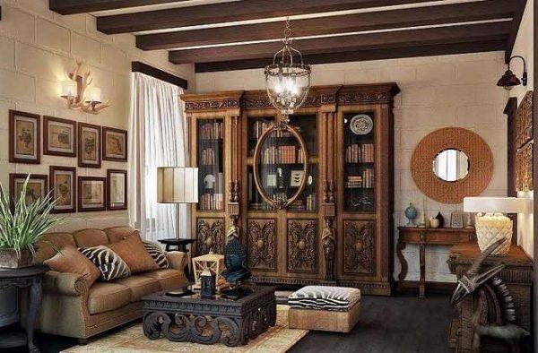 роскошный буфет в интерьере гостиной в стиле кантри