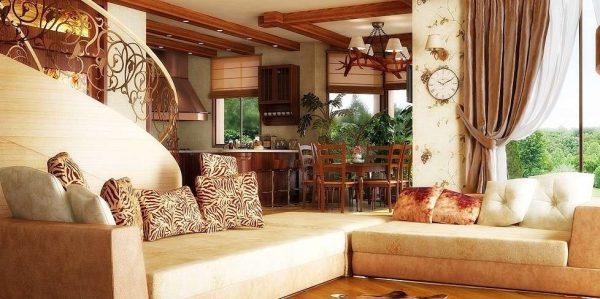 бежевый угловой диван в интерьере гостиной в стиле кантри