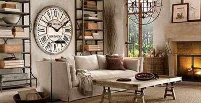 сельский прованс в гостиной с часами и камином