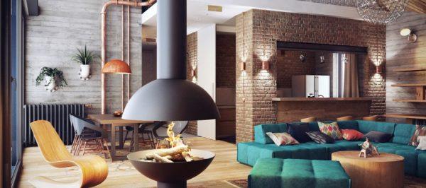 стены в интерьере гостиной в стиле лофт