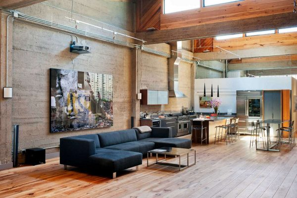 деревянные полы в интерьере гостиной в стиле лофт