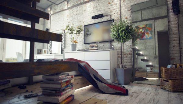интерьер гостиной в стиле лофт побеленная кирпичная кладка