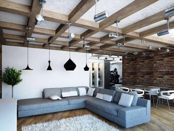 освещение в интерьере гостиной в стиле лофт