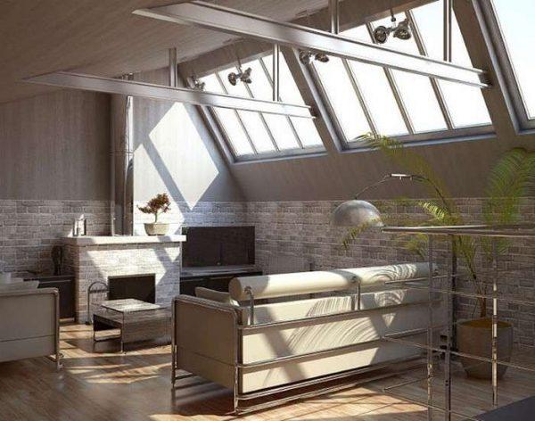 металлические балки на потолке гостиной в стиле лофт