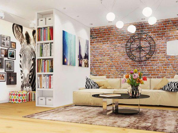 постер с зеброй в интерьере гостиной в стиле лофт