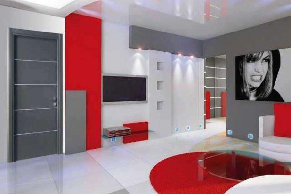 красная модульная стенка в гостиной в стиле минимализм