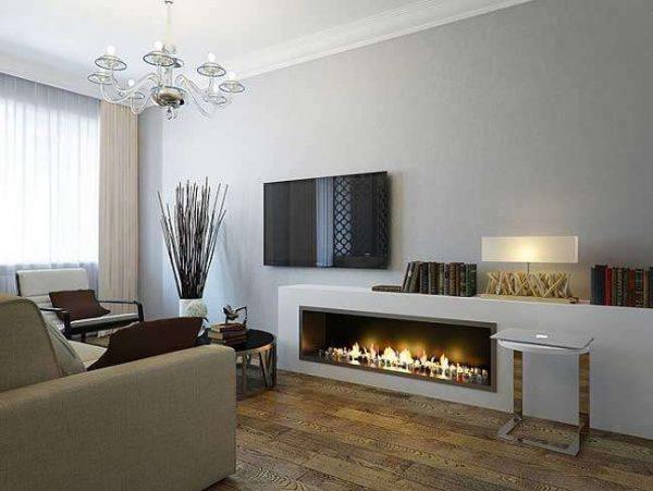 биокамин в интерьере гостиной в минималистическом стиле