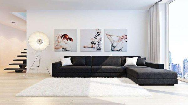 картинки на стенах гостиной в стиле минимализм