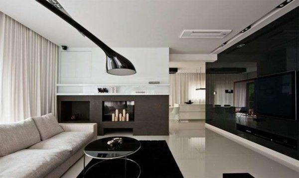 чёрно-белая гостиная в стиле минимализм