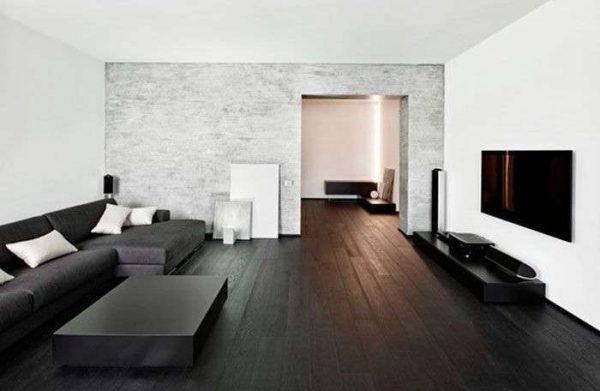 чёрная мебель в гостиной в стиле минимализм