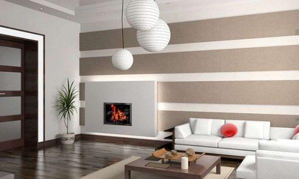 камин в гостиной в стиле минимализм