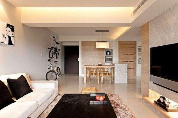 бежевый цвет гостиной в стиле минимализм