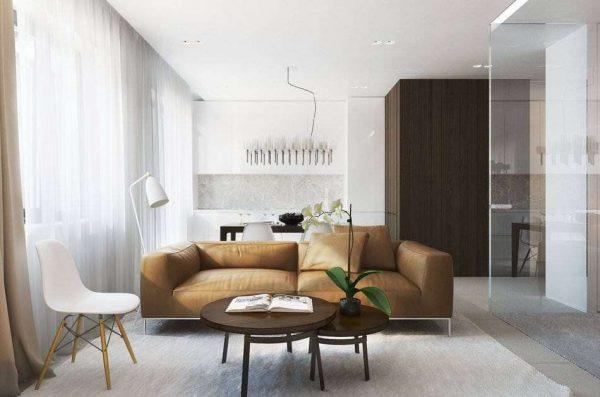 шторы в гостиной в стиле минимализм