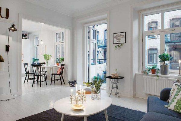 светлый интерьер гостиной в стиле минимализм