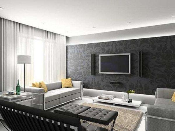 обои чёрного цвета на стене гостиной в стиле минимализм