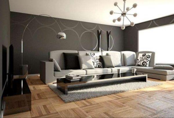 серый интерьер гостиной в стиле минимализм