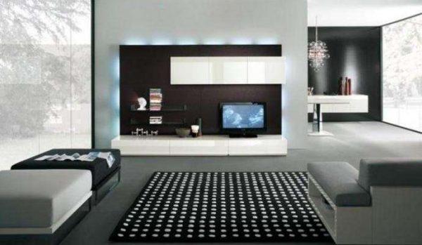 модульная стенка в гостиной в стиле минимализм