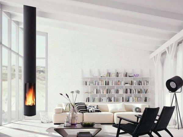камин в гостиной минимализм