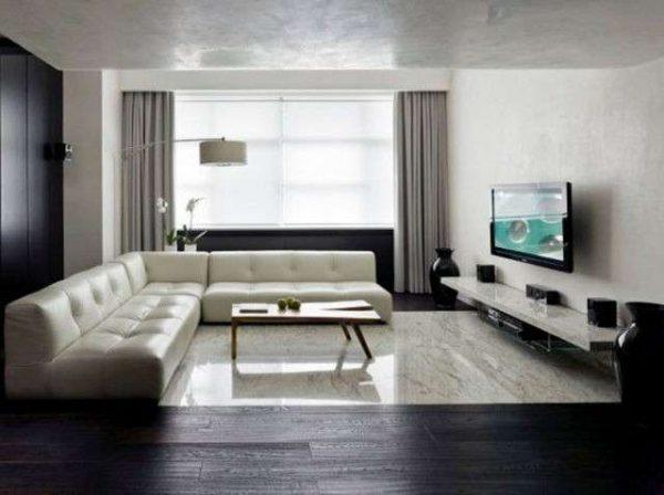 тёмный ламинат в гостиной минимализм