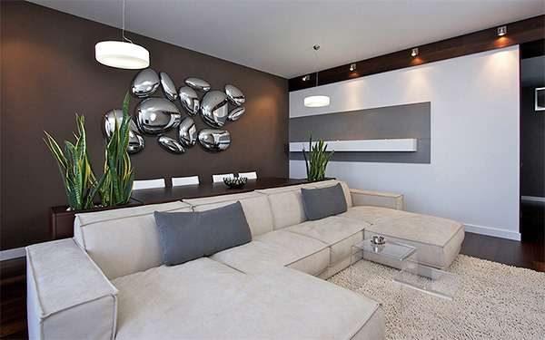 серые стены в интерьере гостиной в стиле модерн