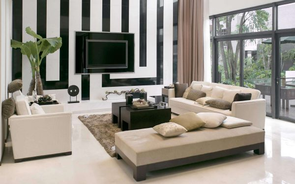чёрно-белые стены в интерьере гостиной в стиле модерн