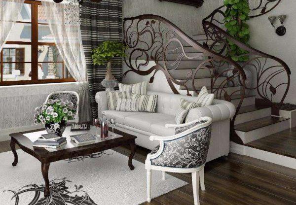 ажурные узоры в интерьере гостиной в стиле модерн