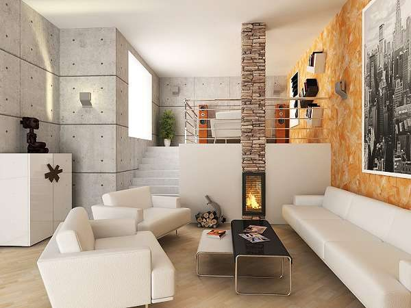 белая мебель в интерьере гостиной в стиле модерн