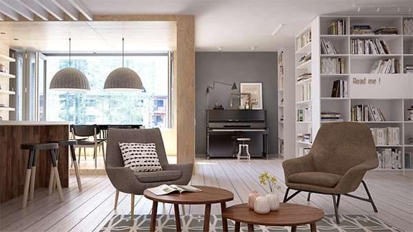 кресла в интерьере гостиной в стиле модерн
