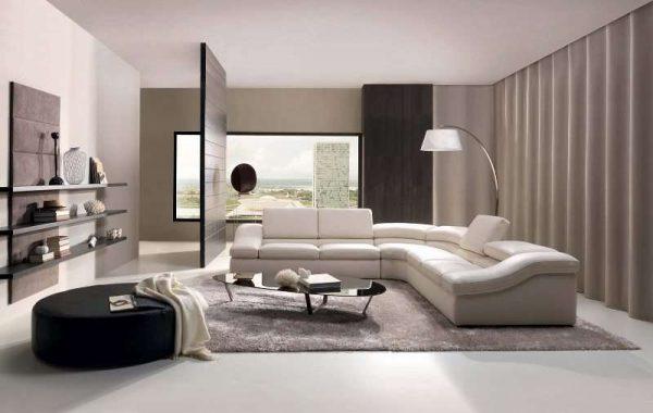 угловой белый диван в интерьере гостиной в стиле модерн