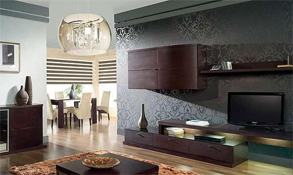 гостиная в стиле модерн в сером цвете
