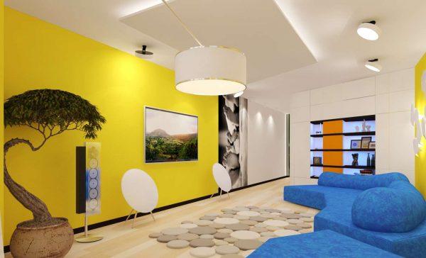 жёлтые стены в гостиной модерн