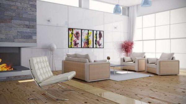 стильная мебель в интерьере гостиной в светлых тонах