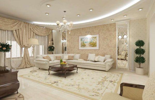 классический интерьер светлой гостиной