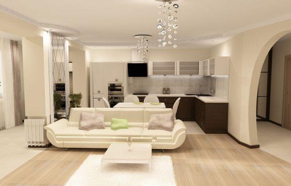 светло-бежевый диван в интерьере светлой гостиной