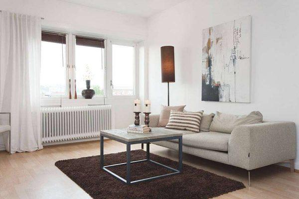 коричневый ковёр в интерьере светлой гостиной