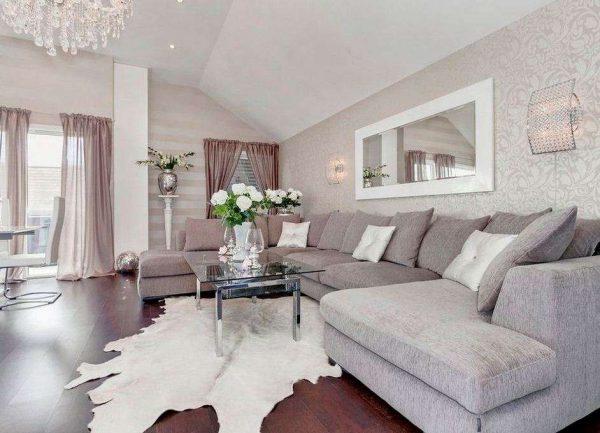 интерьер гостиной в светлых тонах в скандинавском стиле