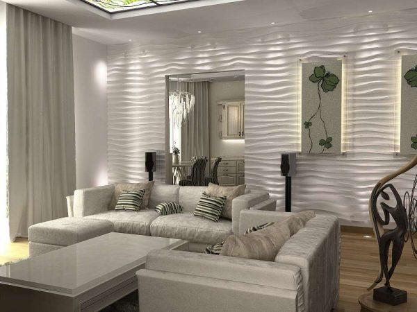 декоративная белая штукатурка на стене гостиной