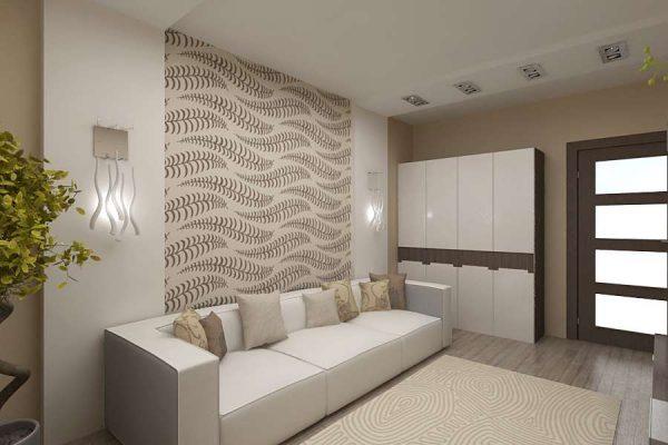 декор стены обоями в интерьере гостиной